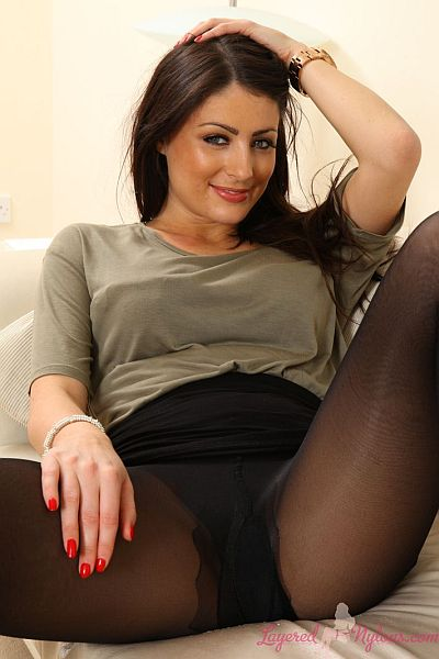 Sexy Brunette Babe Posing In Double Layer Of Black Nylon Pantyhose At Layered-Nylons