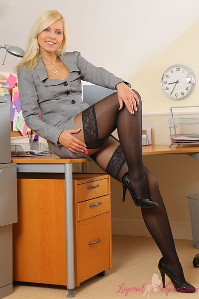 Jenni P - Sexy Secretary In Smart Suit And Layer Of Black Lace Top Stockings and Nylon Pantyhose At Layered-Nylons