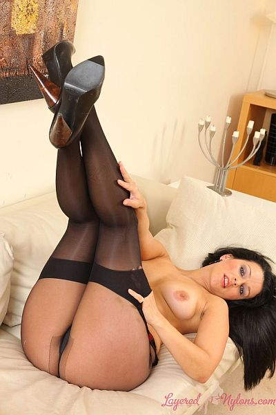 Katya Nova Sexy Glamour Model Teasing In Layer Of Black Stockings Over Sheer Nylon Pantyhose At Layered-Nylon