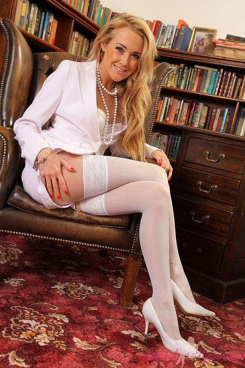Lucy-Anne Sexy Librarian In White Lacy Stockings And Layer Of Sheer Nylon Pantyhose At Layered-Nylons