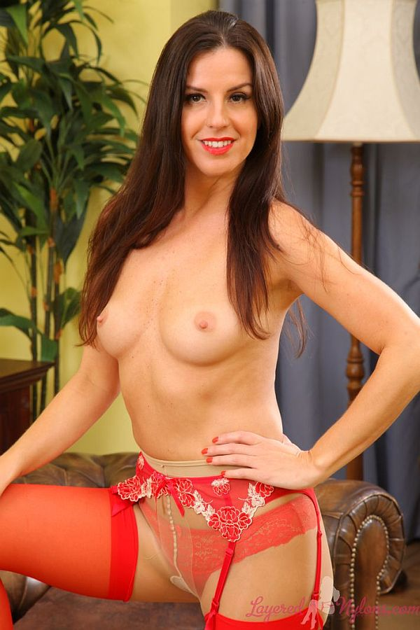 Kobe Lee - Sexy Brunette With Long Hair Posing Topless In Layer Of Red Lingerie And Nylon Pantyhose At Layered-Nylons