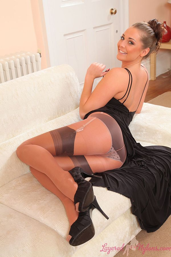 Daisy Watts - Sexy Brunette In Layer Of Sheer Nylon Pantyhose Over Black Seamed Stockings At Layered-Nylons