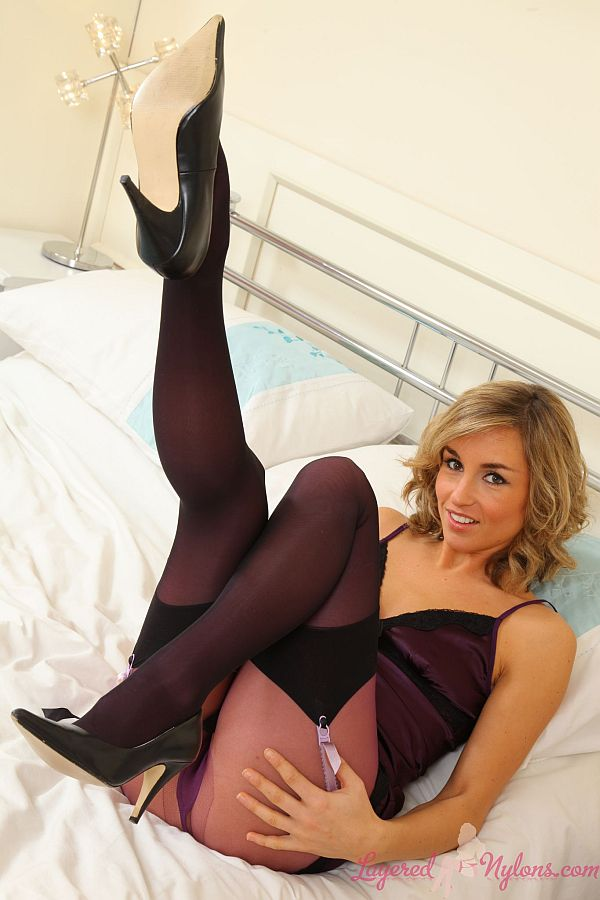 Melanie Walsh British Glamour Model Teasing In Layers of Stockings, Pantyhose And Heels At Layered-Nylons