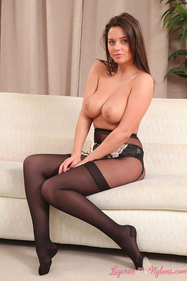 Busty Brunette Posing Topless In Black Stockings and Nylons Pantyhose at Layered-Nylons
