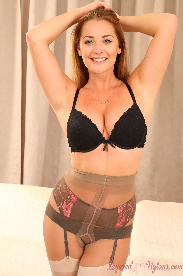 Beautiful Daisy Watts Teasing In Sexy Bra, Panties, Suspenders, Stockings and Pantyhose Layers