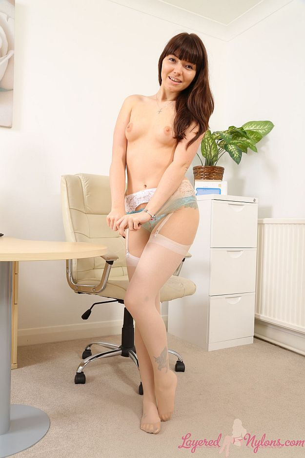 Cute Office Girl Stripteases In Her Lingerie, Stockings and Pantyhose at Layered-Nylons