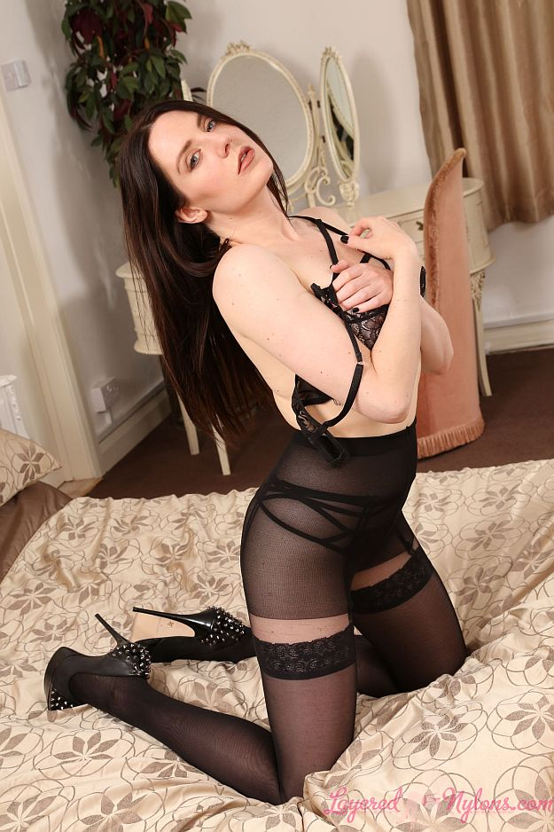 Samantha Bentley Teases In Black Lingerie, Stockings, Pantyhose and Stiletto Heels at Layered-Nylons
