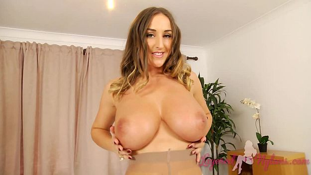 Sexy Stacy Poses Plays With Her Big Boobs In Stockings and Pantyhose Video at Layered-Nylons